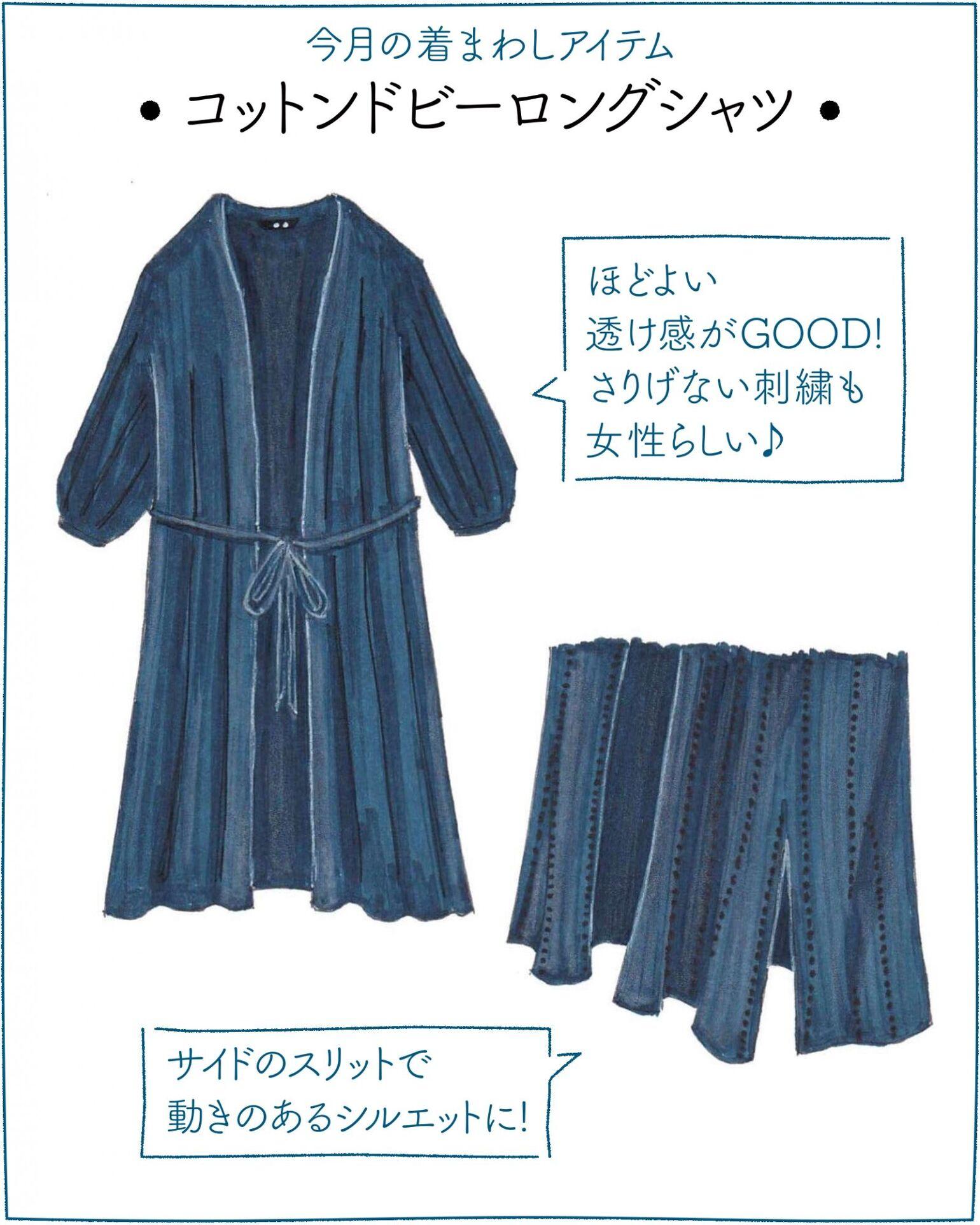 1286258b7b4 大人気のイラストレーターSaekoさんが「今着たいユニクロアイテム」を使ったコーディネートを提案する連載、第2弾!  今回は、ガウンのようにさらりと羽織れるコットン ...