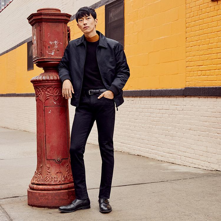 Man wearing Ultra Stretch Skinny Fit Jeans