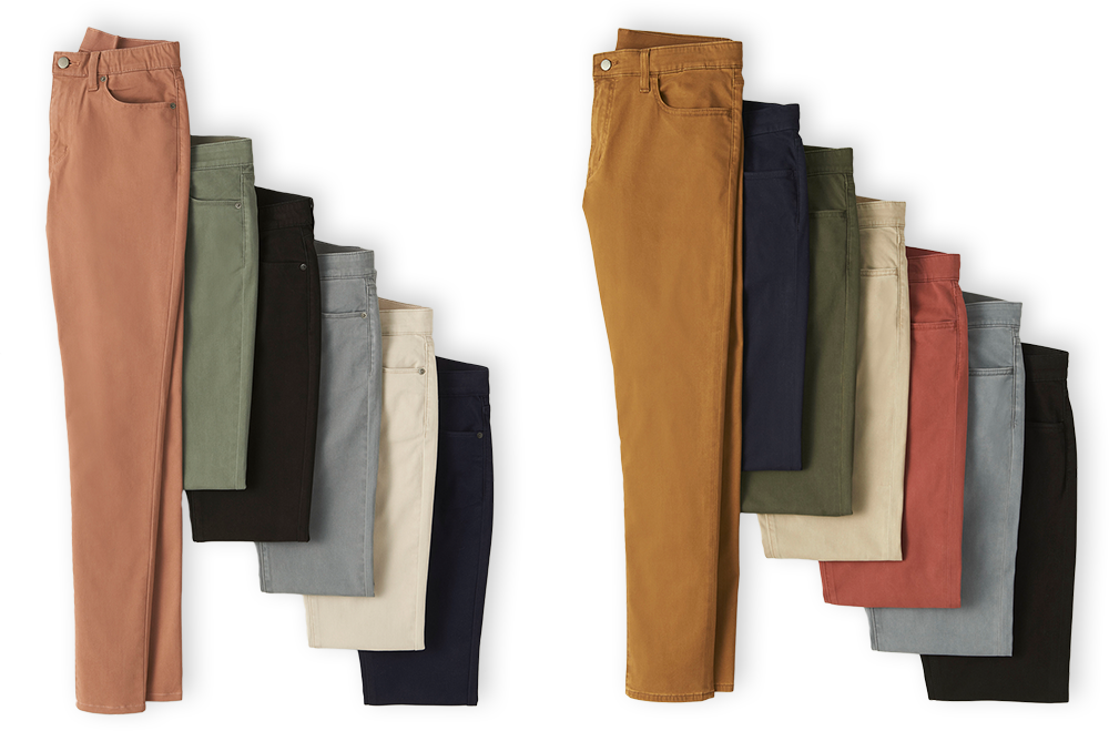 showing color variations of jeans